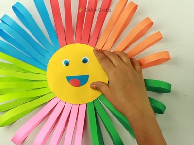 How To Make Awesome Paper Sun For Kids???? | DIY Colorful Paper Sun Home Decor | Origami Paper Sun