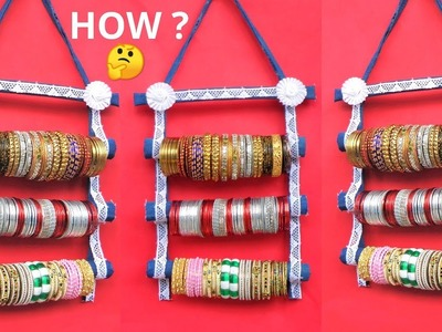 How to make Bangle Holder with Old jeans & Cardboard | Best out of waste