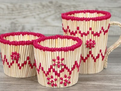 How To Make Decorations With Matchsticks - DIY Tea Cup