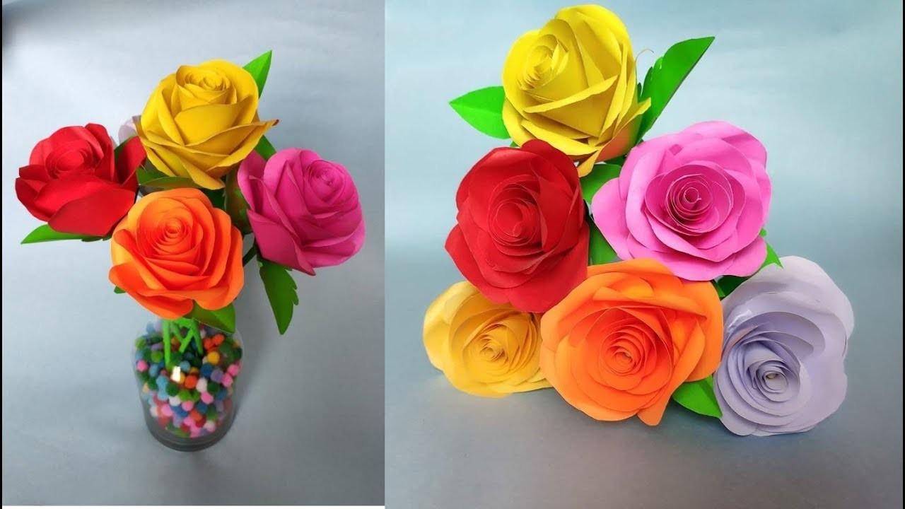 How to make easy paper rose flower - Diy easy paper flower
