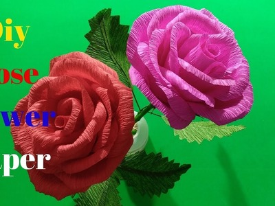 How to make Rose Flower With Crepe Paper | Diy Rose Flower Paper | Home Diy Crafts Paper