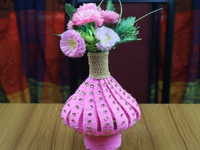 Innovative Ideas of Flower Vase || How to Make Woolen Flower Vase - Best out of waste - Reuse ideas