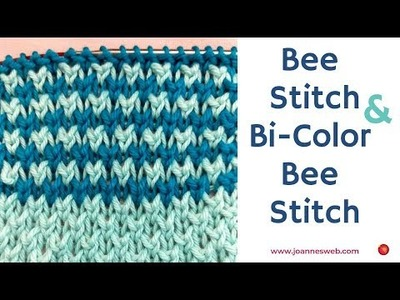 Knit Bee Stitch and Bi Color Bee Stitch Knitting