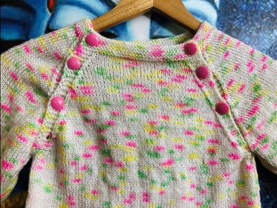 Knitting Baby Sweater with Open Front Neck