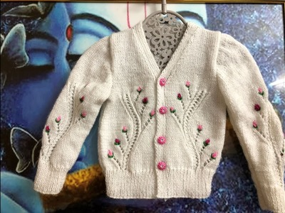 Knitting V Neck Baby Cardigan with full Measurement 1 to 2 year Baby