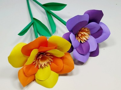 Stick Flower: How to Make Very Beautiful Paper Stick Flower!! Flower Tutorial   Abigail Paper Crafts