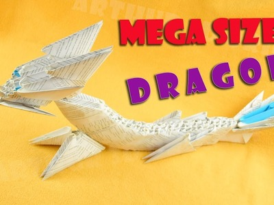 3D Origami Dragon Mega Size from paper ♡ DIY How to