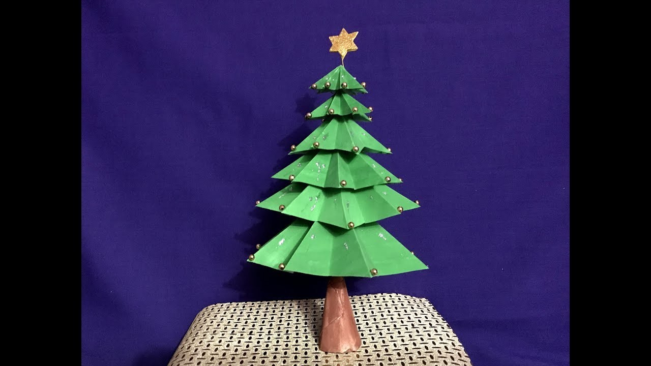 3D Paper Christmas Tree | How to Make a 3D Paper Xmas Tree DIY Tutorial | Tabletop Christmas tree