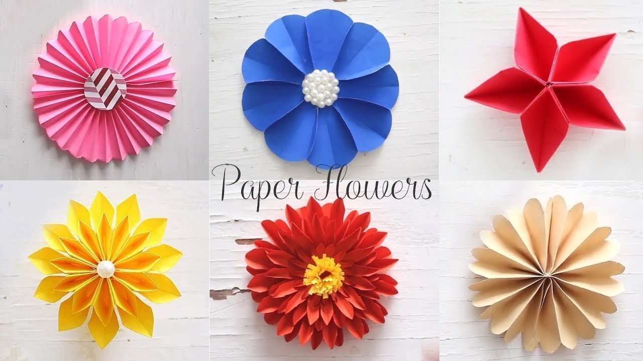 6 easy paper flowers  flower making  how to make round