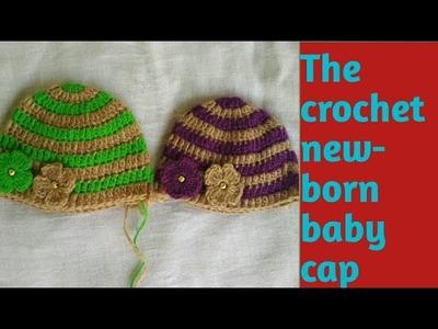 Crochet newborn baby cap ( Hindi).