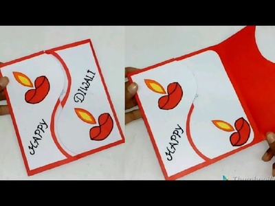 Diwali greeting card|| How to make Greeting card for Diwali||Paper greeting card|| Queen's home