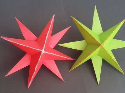 DIY : Paper Star!!! How to Make Beautiful Paper 3D Star for Christmas Decoration!!!