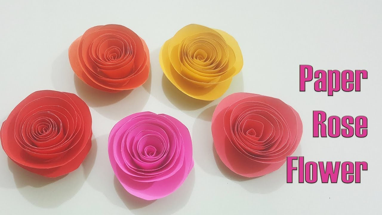 Easy Paper Rose Diy Paper Rose Flower How To Make Rolled Paper