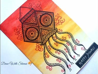 How To Draw Lantern Zentangle Diwali Greeting Card