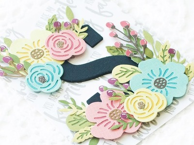 How To Make a Floral Themed Monogram Card using Layered Diecuts (Feat. Altenew Stamps and Dies)
