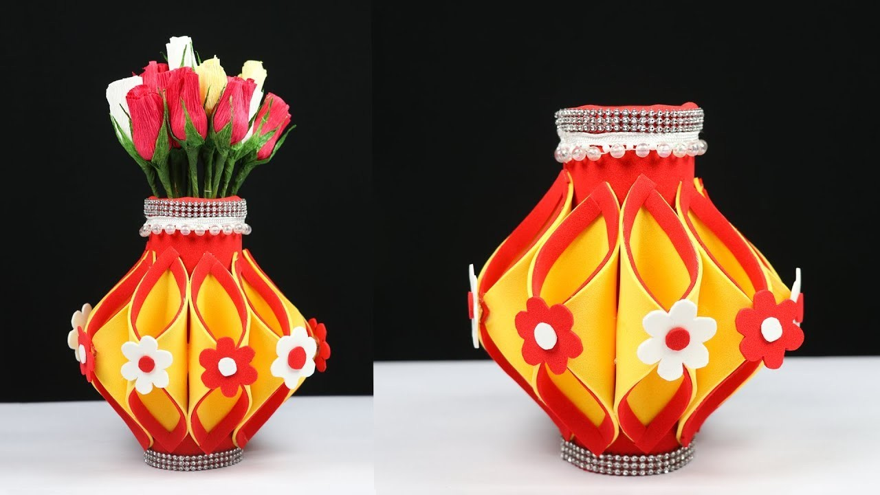 How To Make A Flower Vase At Home Beautiful Flower Vase Making With