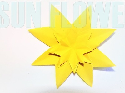 How to make a paper flower (sunflower) easy tutorial | paper crafts | origami flower