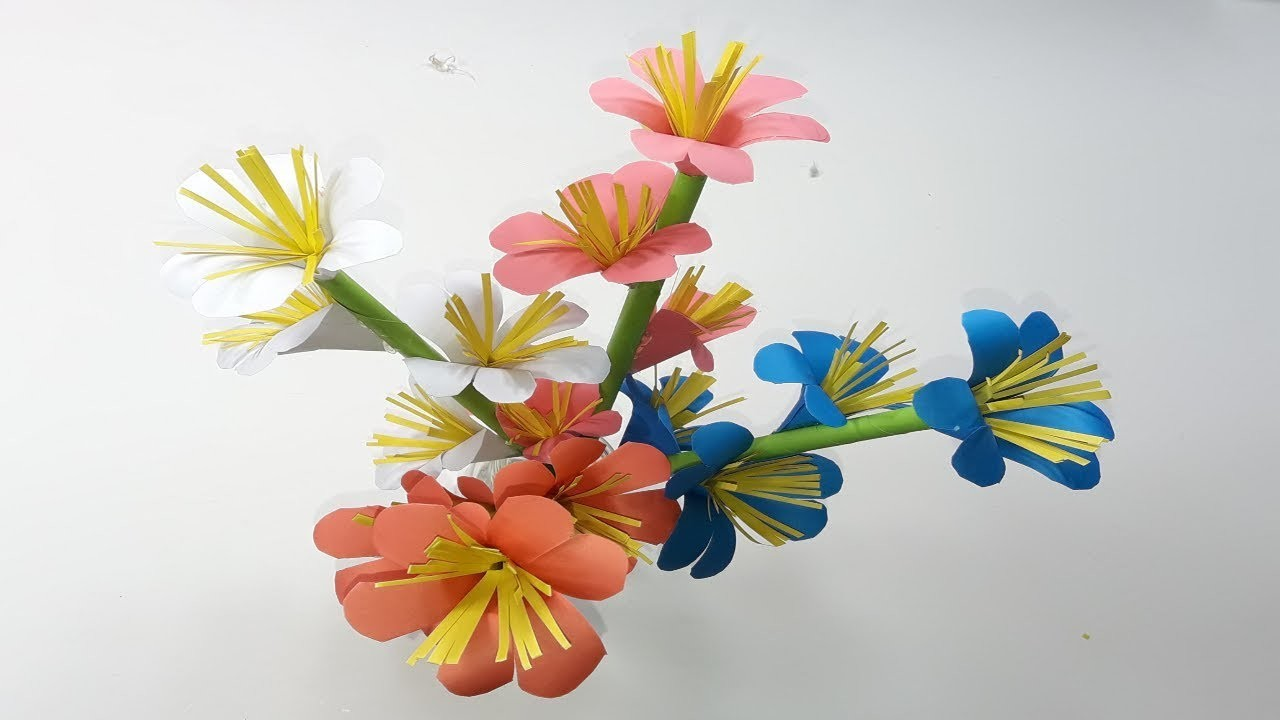 How to Make Beautiful  and easy Paper Stick Flower  DIY eye catchy Hand craft Ideas for decoration