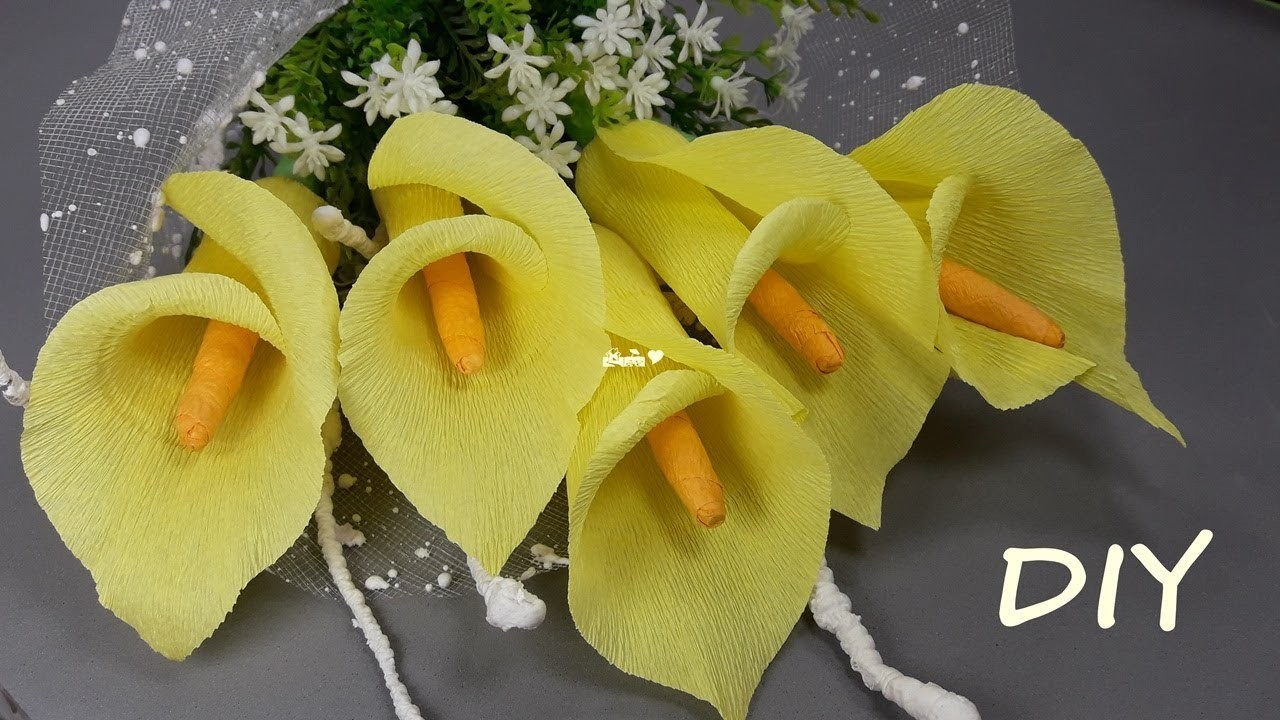 How To Make Calla Lilly Flowers From Crepe Paper Diy Crepe Paper