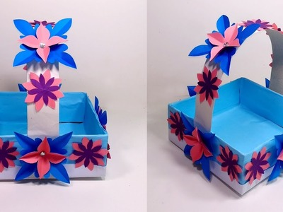 How to Make Easy Paper basket Making with Sweet's Box || Flower Basket | Jarine's Crafty Creation