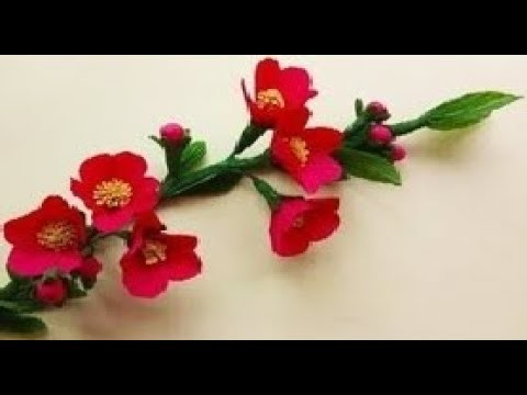 How To Make Paper Flower. Chaenomeles Japonica Paper Flowers Crepe