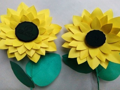 How to make paper sunflower | Sunflower with roses | Paper flower stick