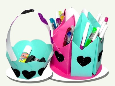How to Make Pencil Box With Paper And Flower Basket 2019