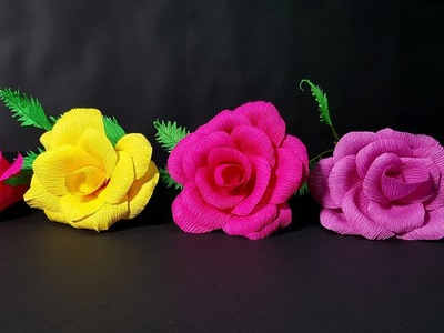 How To Make Rose Paper Flower From Crepe Paper?