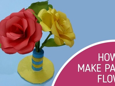 How to make rose paper flower  Easy flowers for beginners making  Crafthouseart