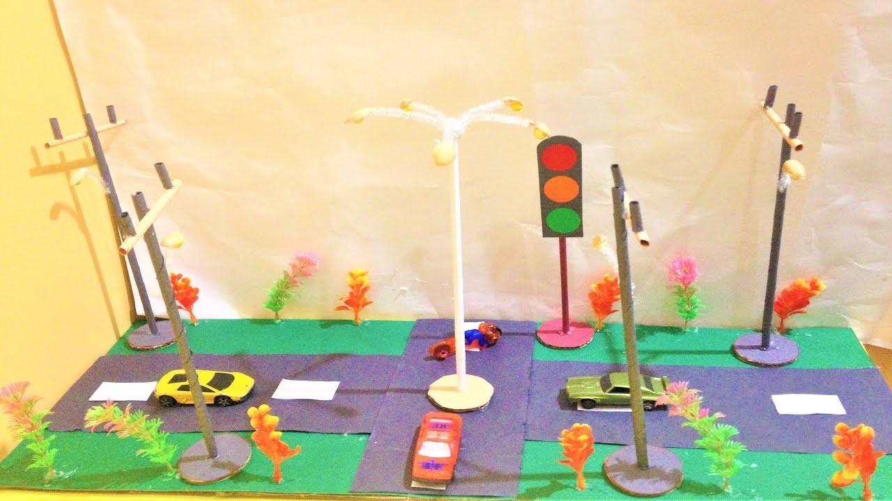 How To Make Street Light And Traffic Light Craft Ideas School Model