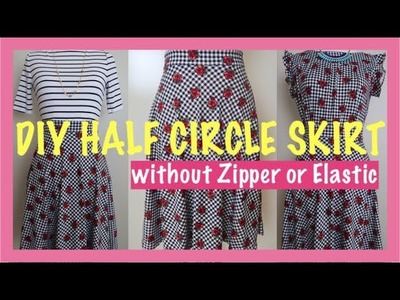 HOWTO DIY HALF CIRCLE SKIRT WITH NO ZIPPER OR ELASTIC Sewing for Beginners