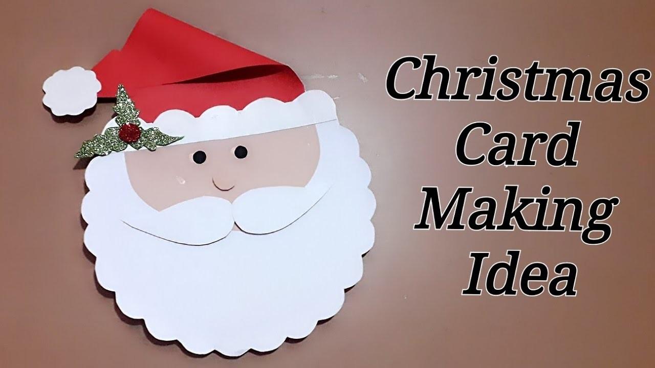 Santa christmas card. How to make Christmas greeting card.  merry Christmas card. Christmas card