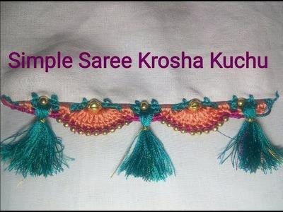 Simple Saree Kuchu Crochet Design With Golden Beads