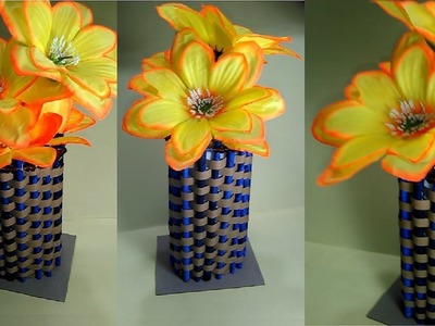 Amazing Paper Flower Vase Making with Newspaper| How to Make a Flower Vase at Home|DIY Projects