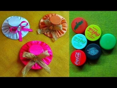DIY: how to make mini hat hair band ????with waste bottle cap ????