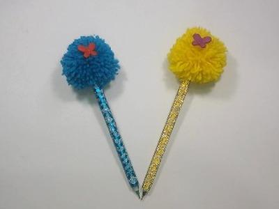 DIY :School Pen Decoration Idea !! How to make Pen decoration at home Very easy | Pom Pom Pen Design