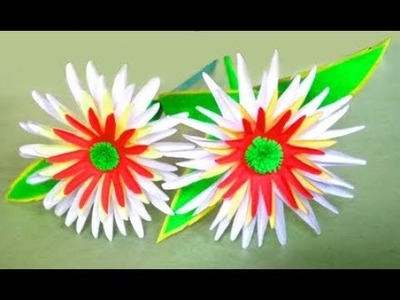 How to make a paper flower with stick easy