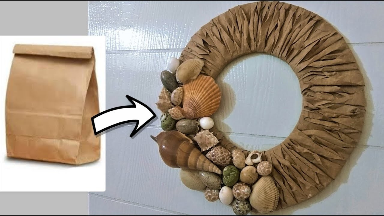 How to make a wreath from brown paper bag | DIY home decor | DIY brown paper craft