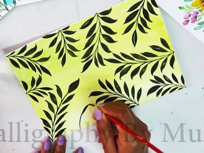 How to make Leaf background on paper | Creative Art Ideas | Painting Leaf | DIY