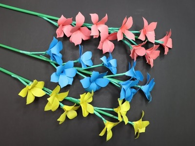 How to Make Paper Flowers   Flower Making at Home   House Made of Stick Flowers   DIYC