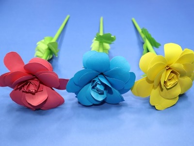 How to Make Rose Flower with Paper | Quick and Easy Paper Flowers | Paper Roses Diy Easy | DIYC