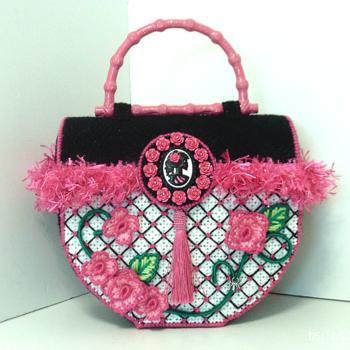 Pink & Black Sugar Skull & Roses Trunk Handbag