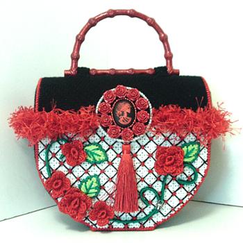 Red,& Black Sugar Skull & Roses Trunk Handbag