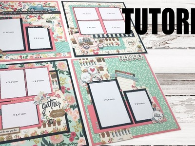 Scrapbook Tutorial | Carta Bella | Flower Market *4 layouts* Cutting Guide