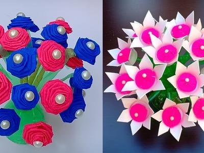 2 handmade guldasta# GULDASTA #bottle craft#paper flower.best out of waste.gudasta banane ka tarika
