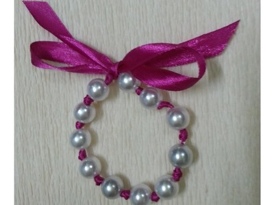 Beautiful pearl and ribbon bracelet| simple and easy DIY bracelet| satin ribbon bracelet