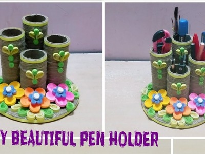 DIY Beautiful Pen Holder With Quilling Paper and Jute Rope