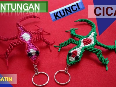 DIY - Cara Membuat Gantungan Kunci Cicak dari Tali Satin. How to Make a Lizard Keychain from rope