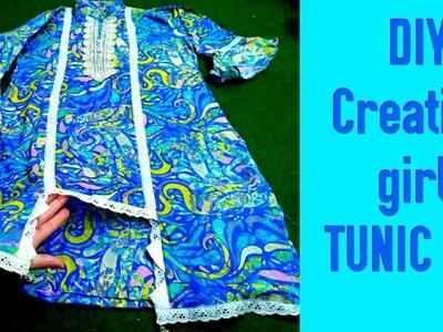 DIY- Fabulous Stylish  kurti.Tunic Top for Little Girl with Cutting Stitching by fashion creation