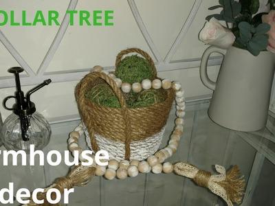Diy farmhouse decor. diy farmhouse basket. diy farmhouse beads. diy moss balls